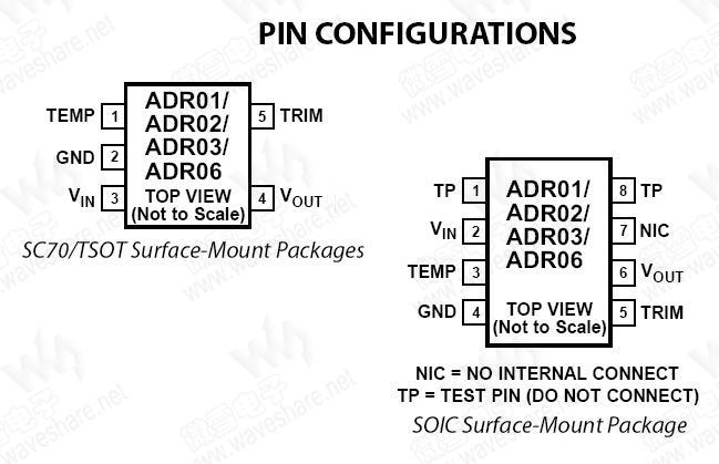 ADR03是2.5 V精密带隙基准电压源,具有高精度、高稳定性和低功耗特性。ADR03采用5引脚小型SC70和TSOT封装,以及8引脚SOIC封装。ADR03的SOIC封装产品均为业界标准基准电压源REF03的直接替代品。ADR03基准电压源具有小尺寸和宽工作电压范围特性,非常适合通用型和空间受限的应用。 ADR03为紧凑型低漂移基准电压源,能在较宽的工作电压范围提供极稳定的输出电压。ADR03提供5引脚SC70和TSOT封装,A级、B级和C级产品还提供8引脚SOIC封装。所有器件的额定温度范围均为&nd