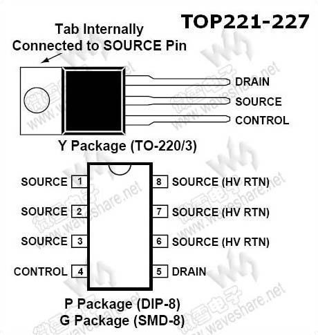 订购信息 型号 封装 在线定购 top222yn(查看) to-220 引脚布局