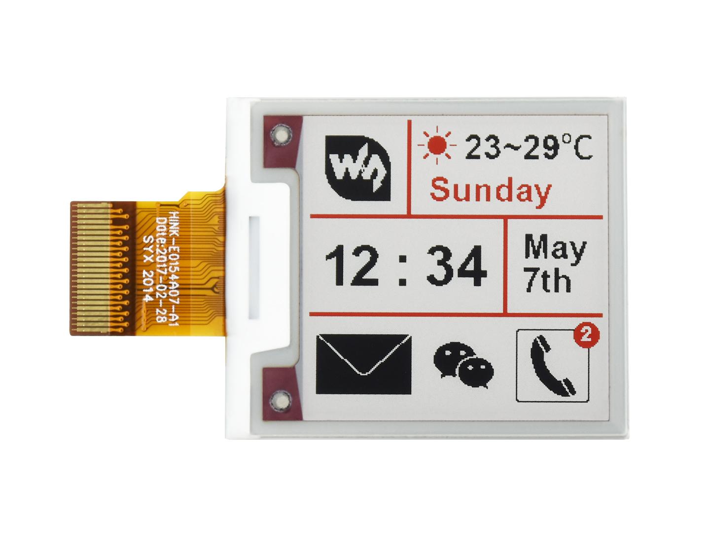 1.54寸墨水屏裸屏 e-Paper 200x200分辨率 红黑白