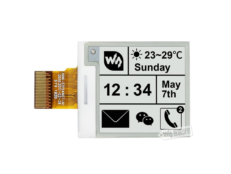 1.54寸墨水屏裸屏 e-Paper 200x200分辨率 黑白