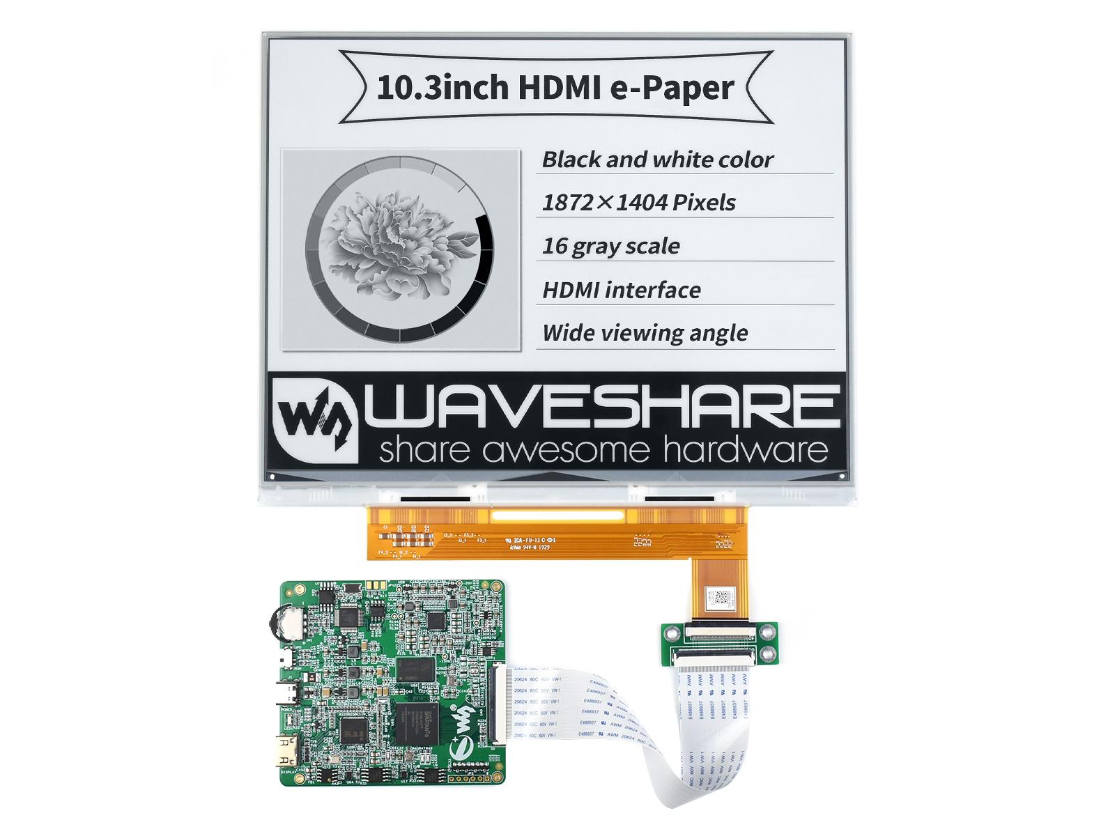10.3寸e-Paper电子墨水屏模块15Hz 刷新率1872×1404像素 HDMI通信
