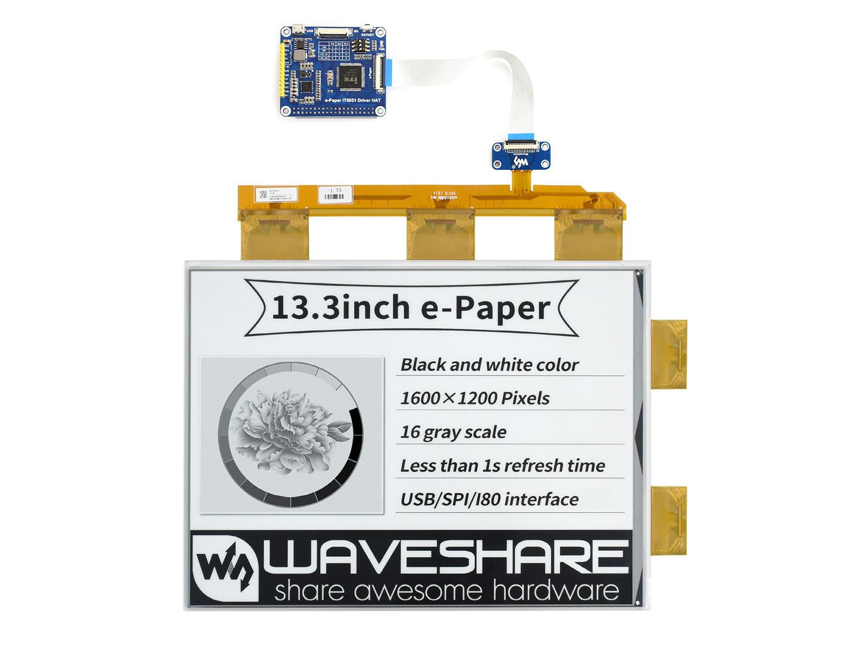 13.3寸e-Paper电子墨水屏模块1600×1200像素 并口