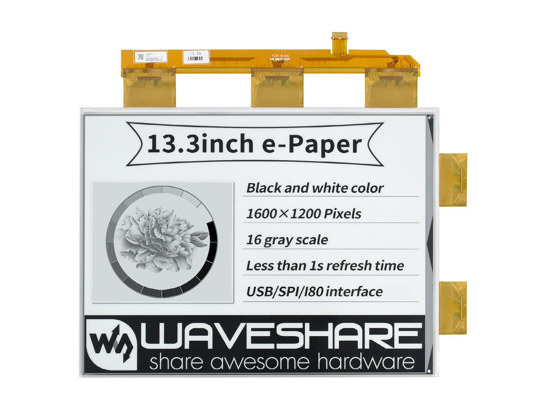 13.3寸e-Paper电子墨水屏祼屏1600×1200像素 并口