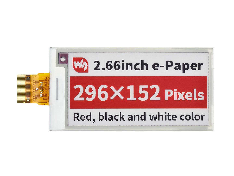 2.66寸e-Paper电子墨水屏裸屏红色296×152像素 SPI通信