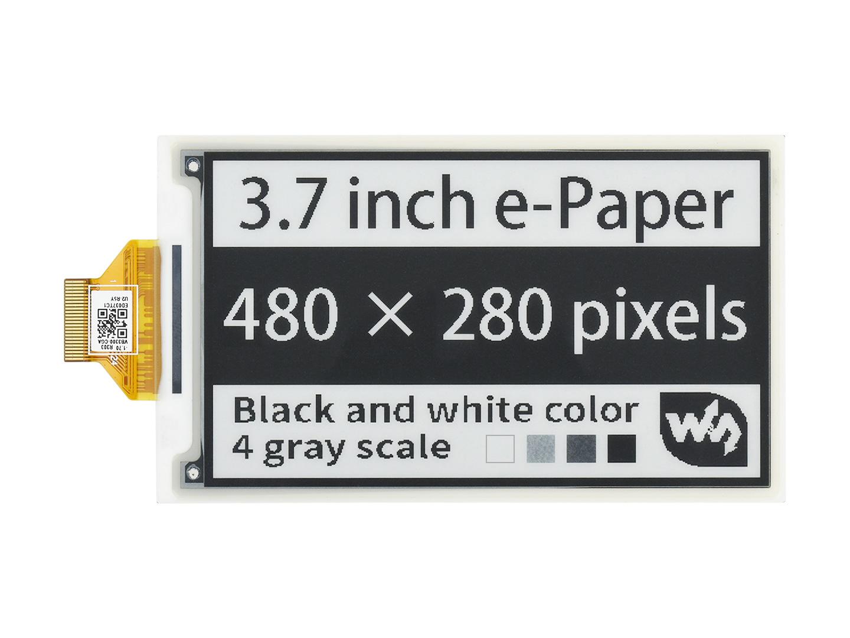 3.7寸e-Paper电子墨水屏480×280像素 SPI通信