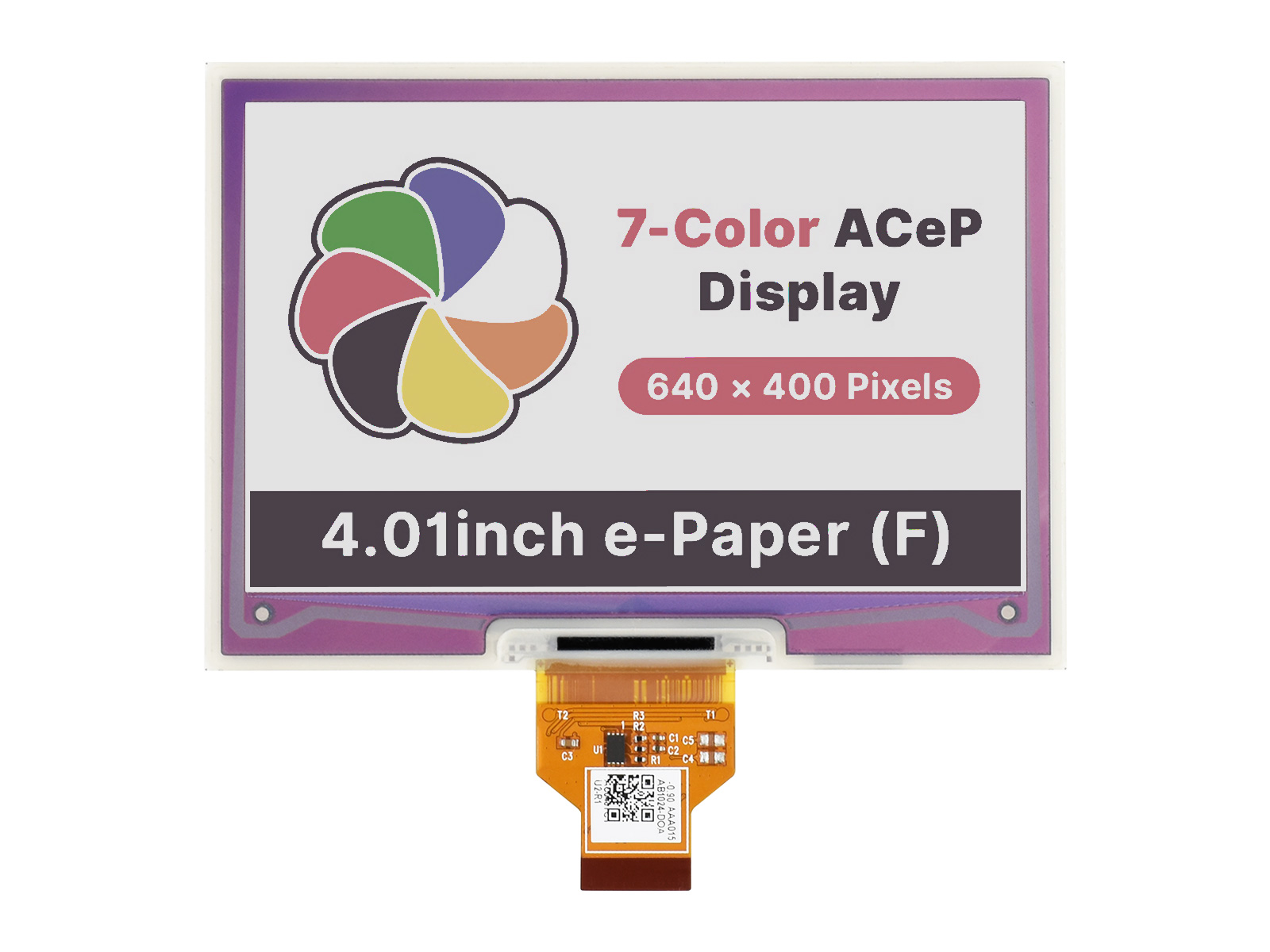 4.01寸7彩色电子墨水屏裸屏640×400分辨率 SPI通信接口