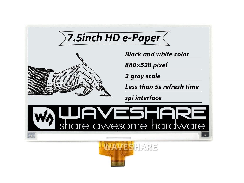 7.5寸高清电子墨水屏 电子纸 e-paper 880×528分辨率 黑白