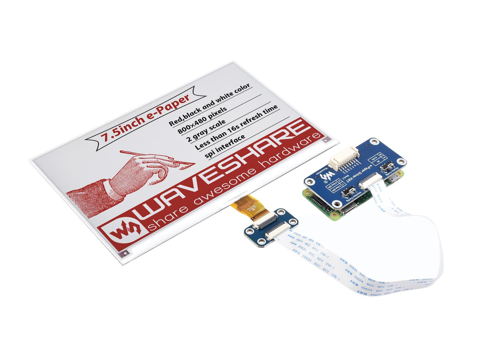 7.5寸e-Paper电子墨水屏模块红色800×480像素 SPI通信