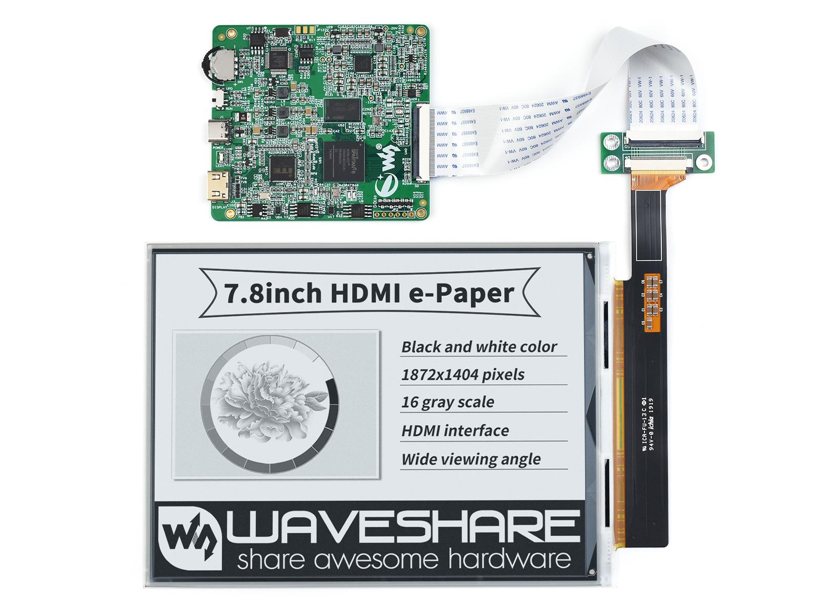 7.8寸e-Paper电子墨水屏模块1872×1404像素 HDMI通信