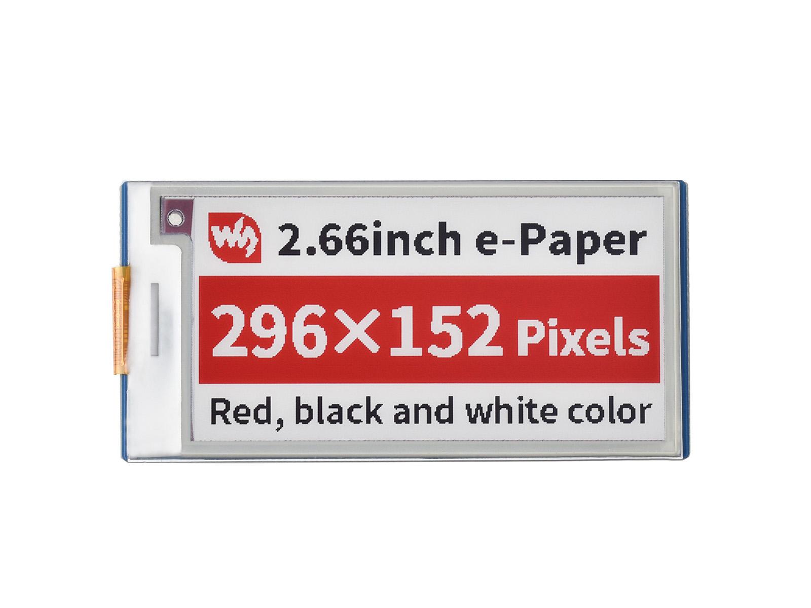 2.66寸Pico红色电子墨水屏扩展板 e-paper 296×152分辨率 SPI通信