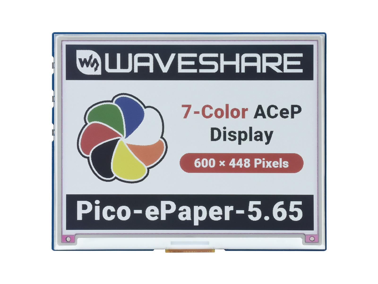 5.65寸彩色电子墨水屏 7彩色 600 × 448 分辨率 树莓派Pico适用