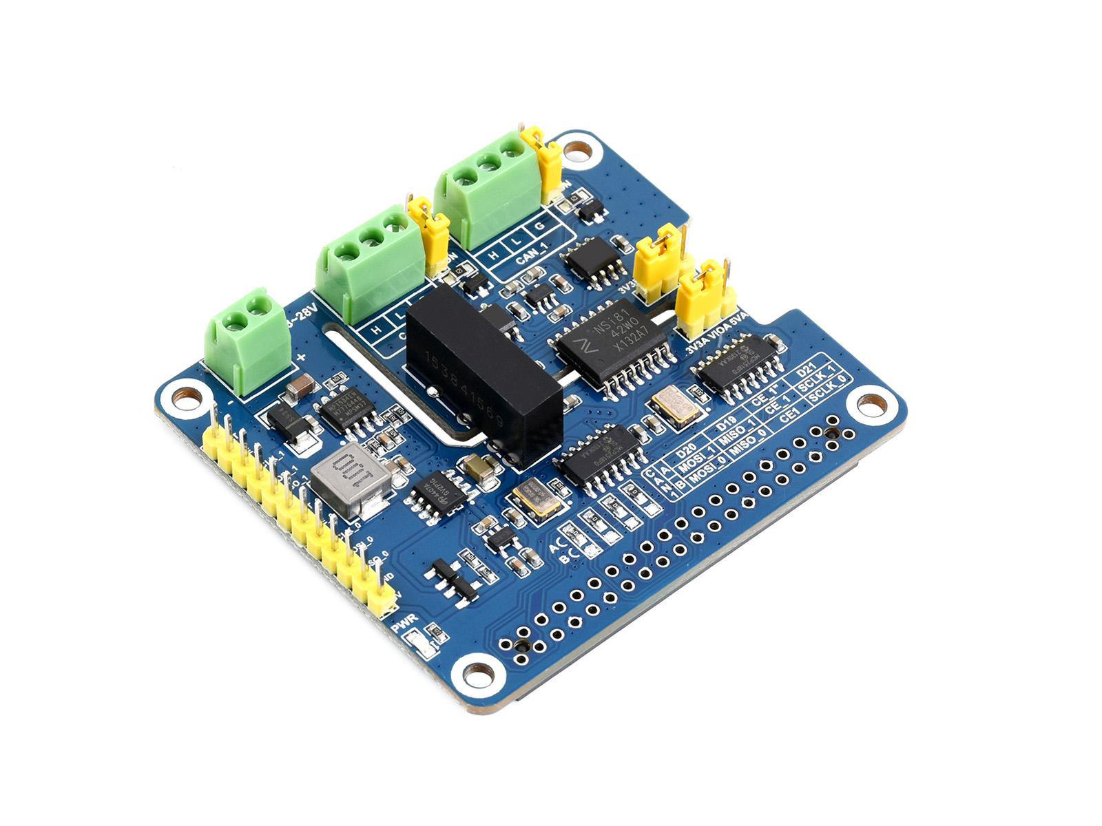 树莓派双通道隔离型CAN总线扩展板 支持CAN FD
