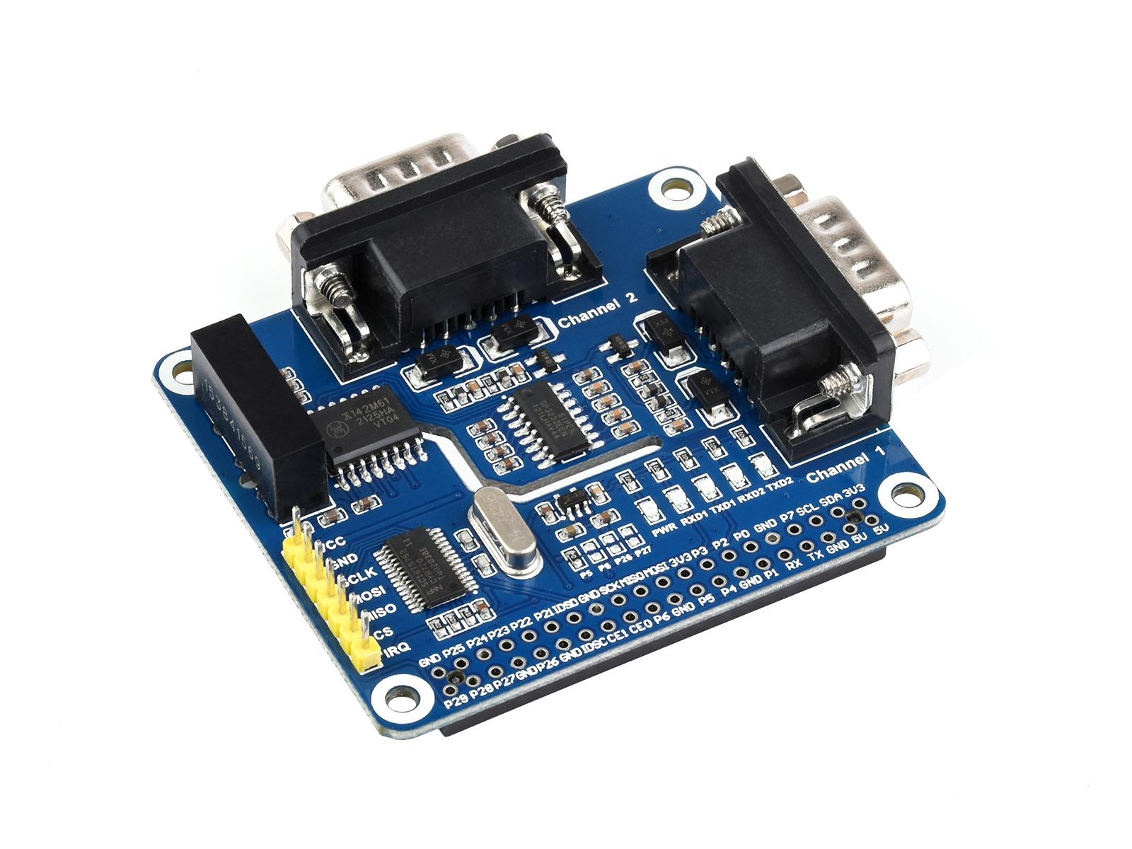 树莓派双通道隔离型RS232扩展板 SC16IS752+SP3232方案 内置多种保护电路