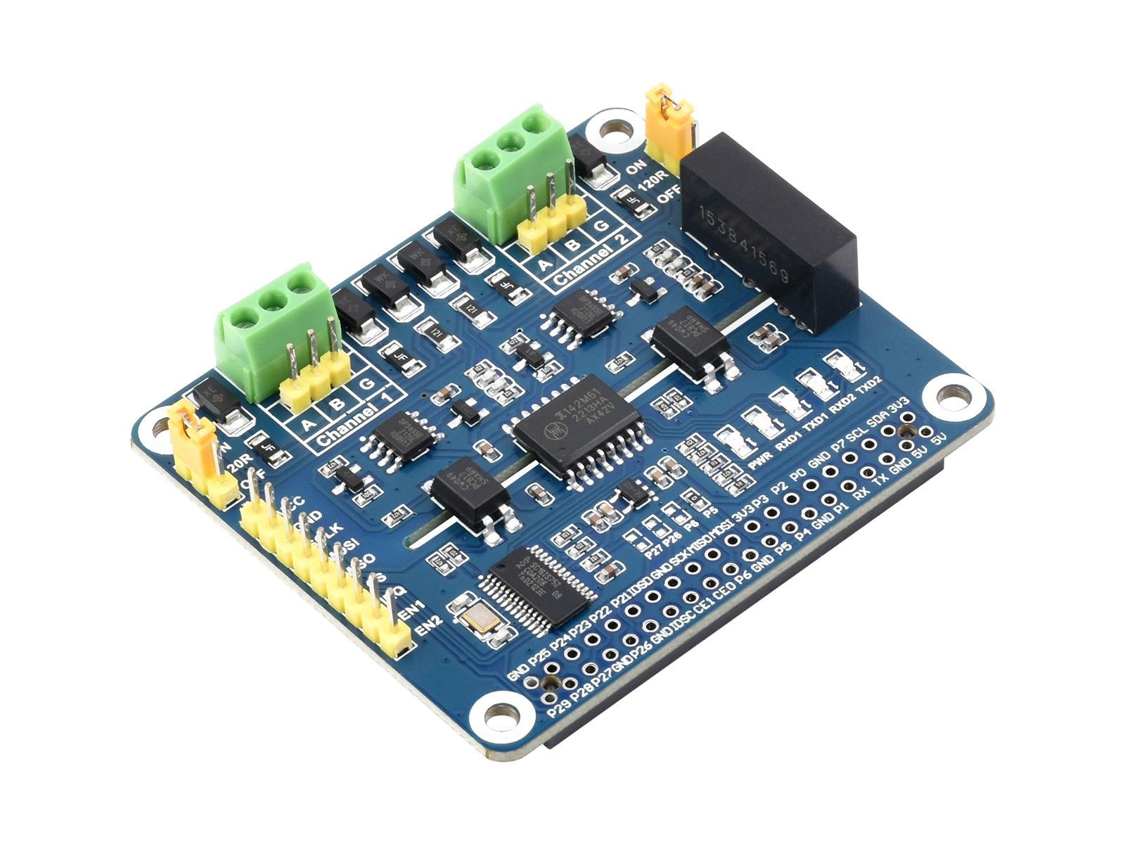 树莓派双通道隔离型RS485扩展板 SC16IS752+SP3485方案 内置多种保护电路