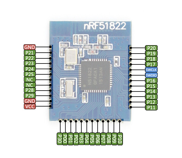 0蓝牙 nrf51822 2.4g无线模块