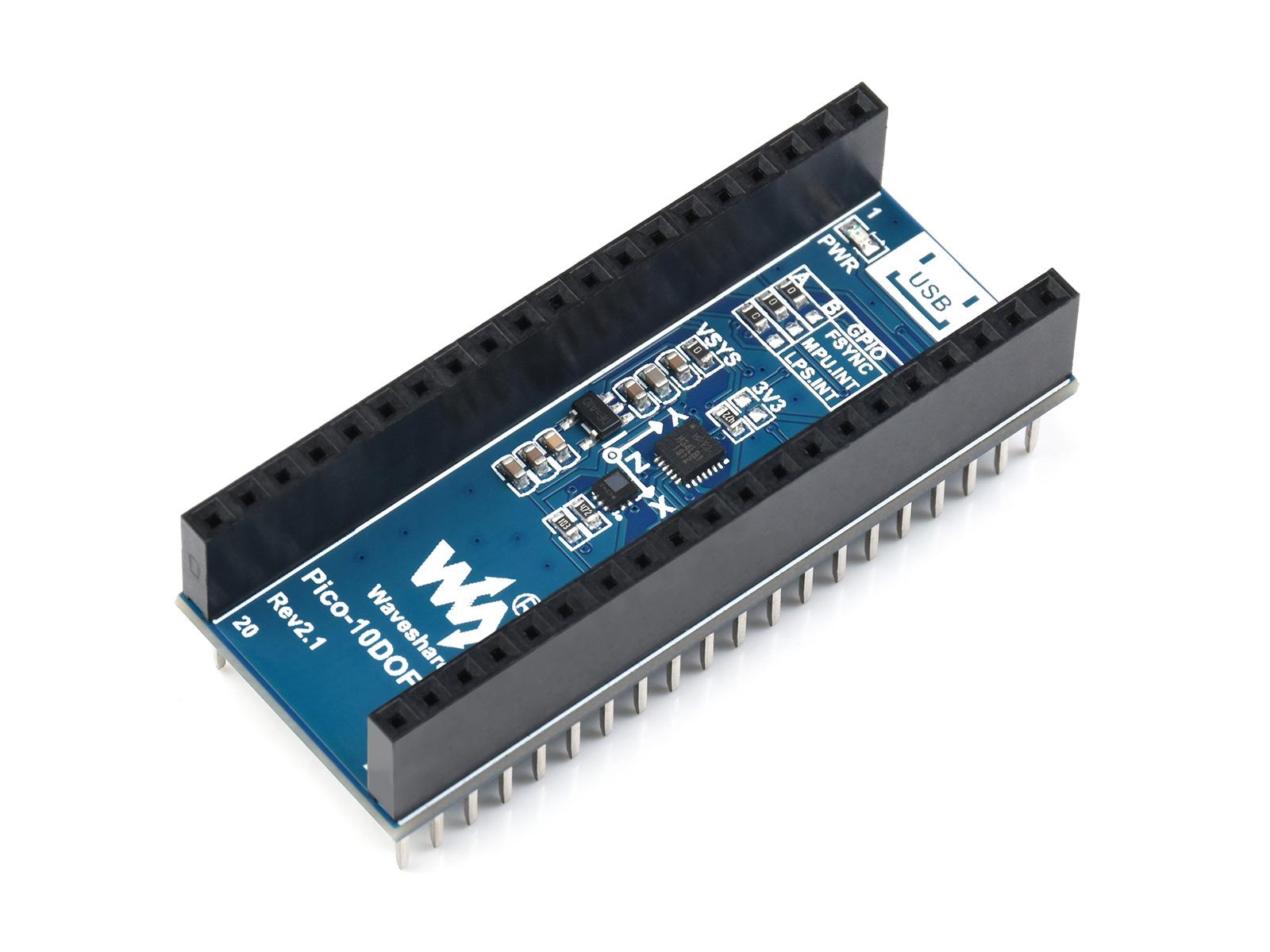 树莓派Pico 10轴传感器扩展板 ICM20948 3轴加速度/陀螺仪/磁力计