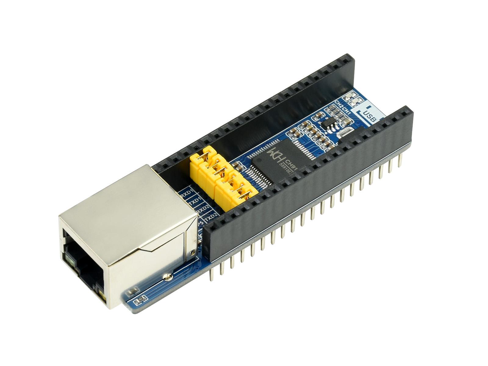 树莓派 Pico 网络透传扩展板 10/100M网口 板载接口引脚