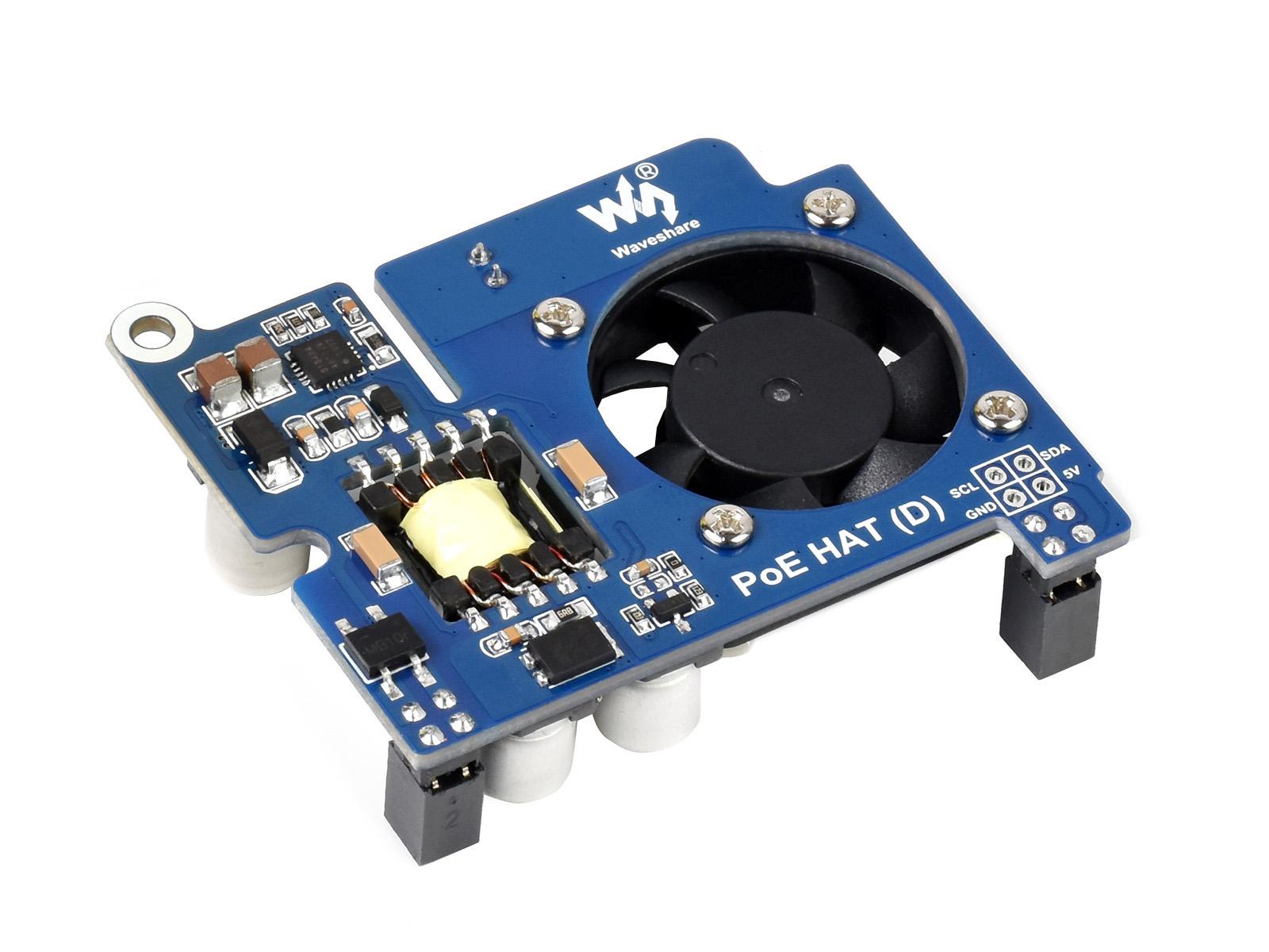 树莓派以太网供电扩展板 适用于树莓派3B+/4B,支持802.3af网络标准