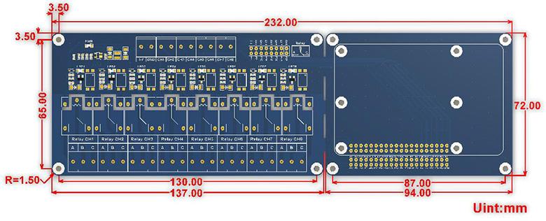 RPi Relay Board (B)尺寸