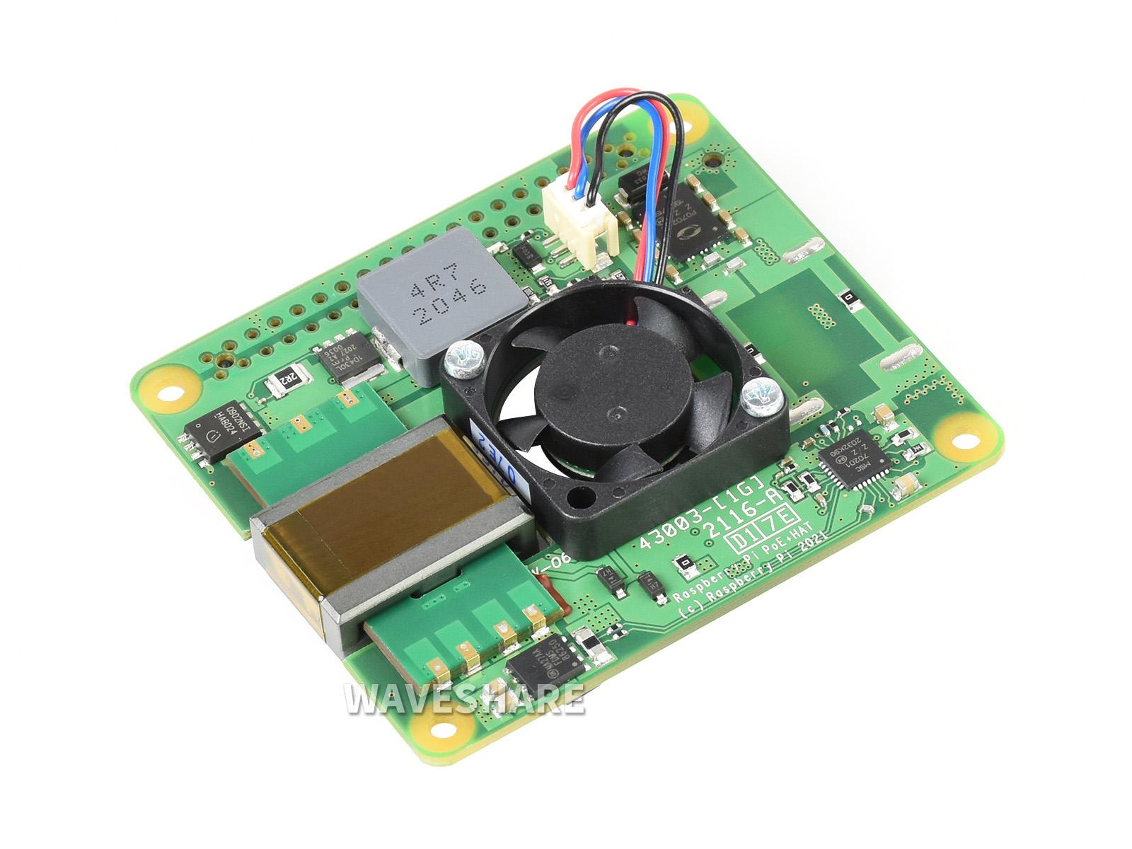 Raspberry Pi PoE+ HAT 树莓派3B+/4B以太网供电扩展板