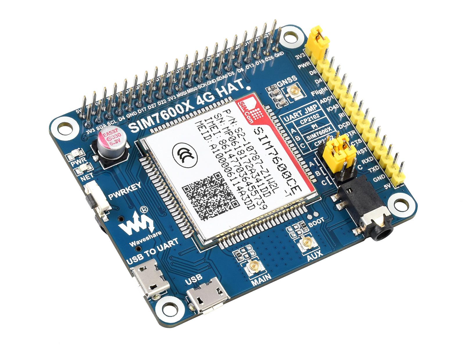 SIM7600CE 树莓派4G扩展板 兼容3G/2G 带GNSS定位