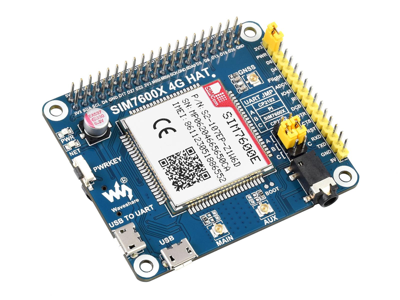树莓派LTE Cat-1扩展板 SIM7600E模组 兼容3G/2G 带GNSS定位