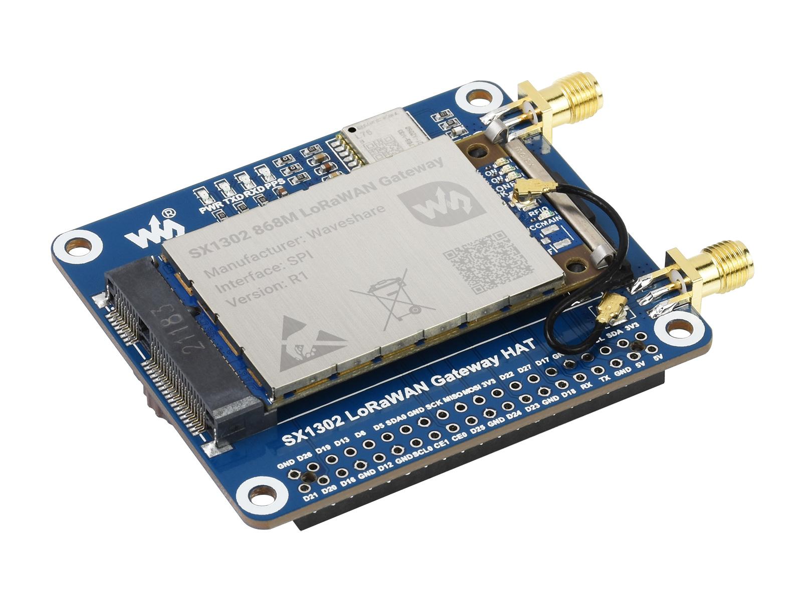 树莓派LoRaWAN扩展板 SX1302 EU868 GNSS模组