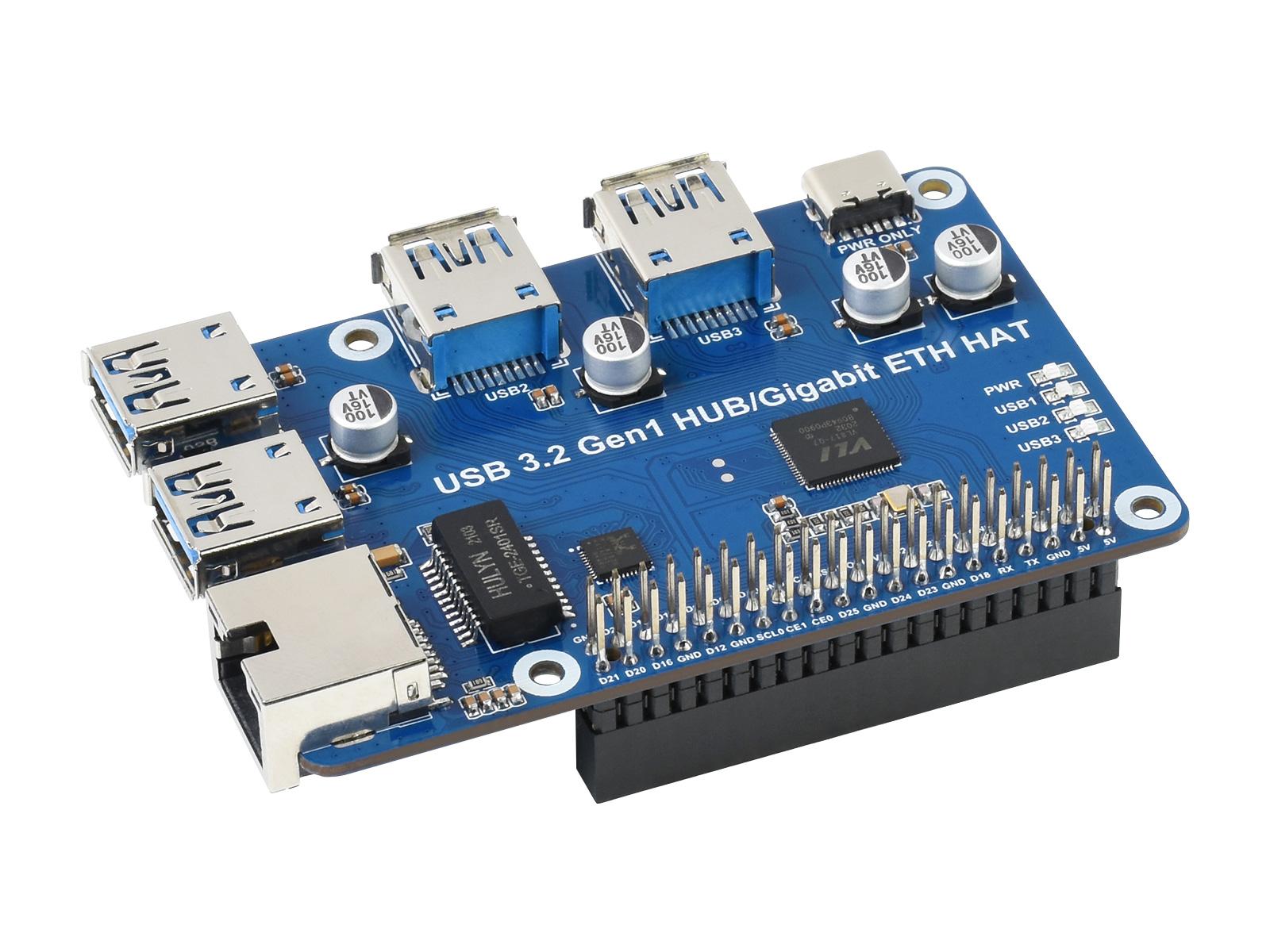 树莓派USB扩展板USB HUB分线器集线器 免驱动4端口USB3.2 Gen1