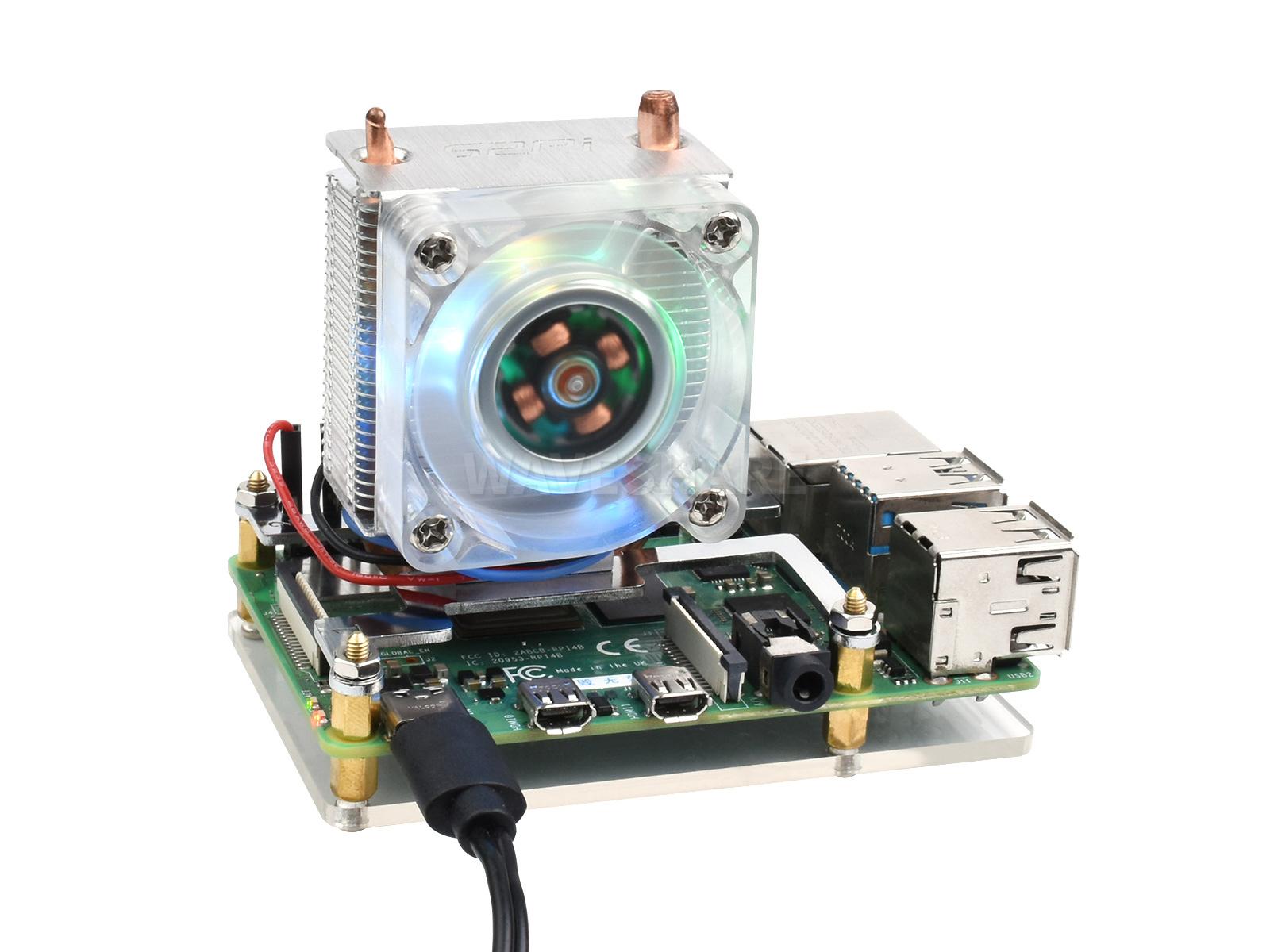 树莓派小冰塔CPU散热风扇 U型铜管 鳍片散热 塔式RGB炫彩风扇 树莓派4/3B+/3B适用
