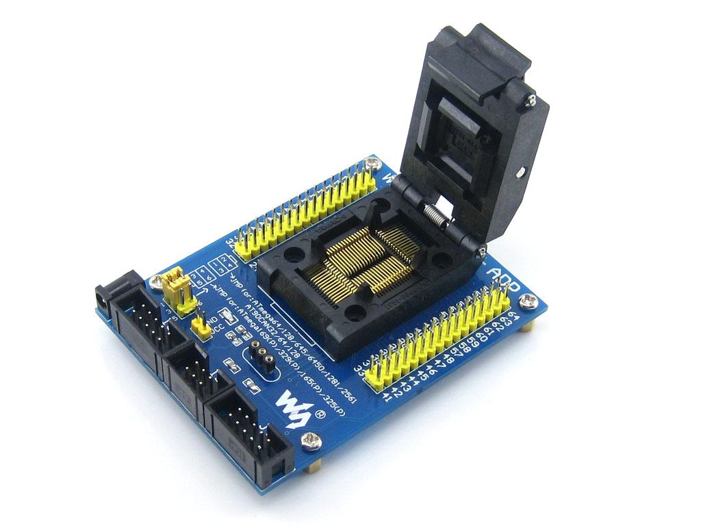 AVR Atmega TQFP64 专用测试座 编程座 带接口