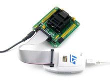 STM32-QFP64测试座接入RLINK示意图