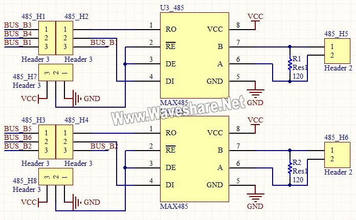 串口芯片max485控制电路原理图