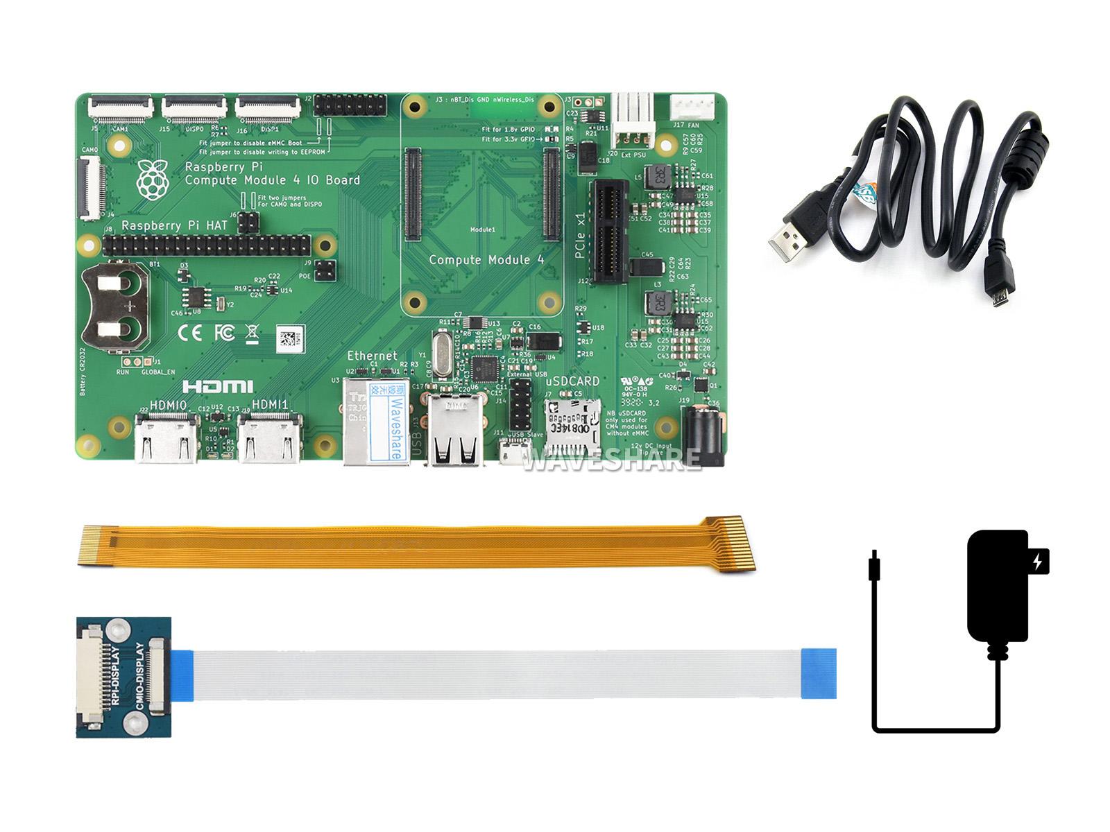 树莓派计算模块Compute Module 4基础配件包 带IO底板