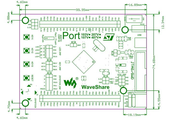 stm32 cortex m4开发板 port407v