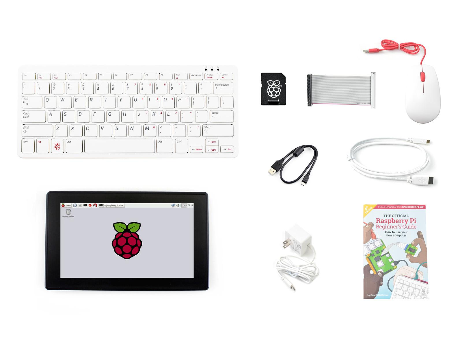 树莓派Raspberry Pi 400键盘型个人电脑 7寸触摸屏套餐 (美式)