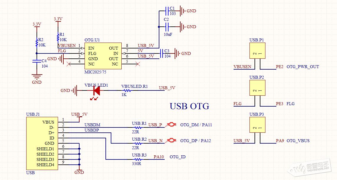 以下为usb otg fs的电路图