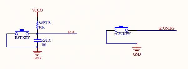 rst复位采用reset按键开关构成的阻容复位电路,按下后,低电平有效产生